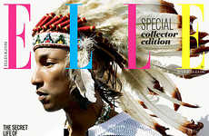 Controversial Headdresses Covers - The ELLE UK Issue is Covered by Pharrell Williams