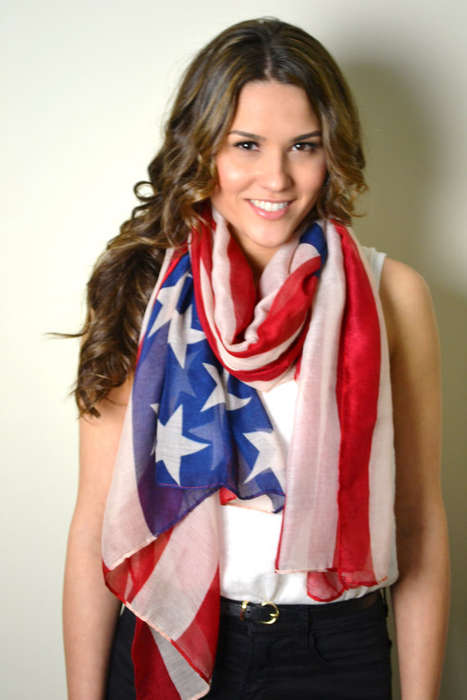 Patriotic Silky Scarves - These Fashionable American Flag Scarves Celebrate the Fourth of July