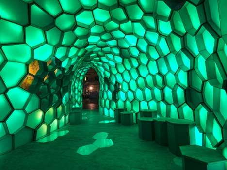 LED Honeycomb Structures - Chris Knapp's Cellular Tessellation Installation is Fuelled by Geometry
