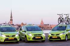 Bike Rack Cab Companies - Cars with Baltic Taxi are Having Bicycle Racks Installed On Their Roofs