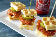 Spicy Waffle Sandwiches - These Chicken Waffle Bites are Covered in Sriracha Sauce