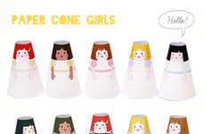 DIY Paper Doll Crafts - Mr Printables Features Paper-Made Cone Girl Designs