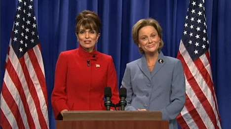 Tina Fey as Sarah Palin and Amy Poehler as Hillary Clinton