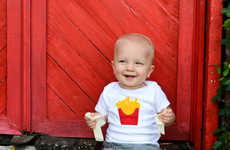 Baby Burger Rompers - These Burger and Fries Baby Onesies are Nostalgically Cute
