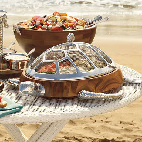Tortoise Serving Dishes - The Turtle Chip and Dip Server is Perfect for a Beach Barbecue