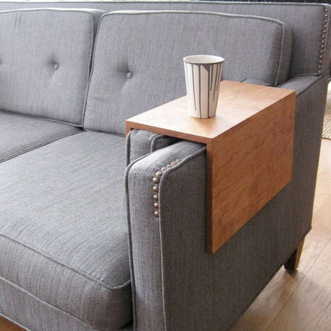 Wraparound Sofa Shelves - This Couch Arm Table Makes Laptop and Glass Balancing Less Difficult