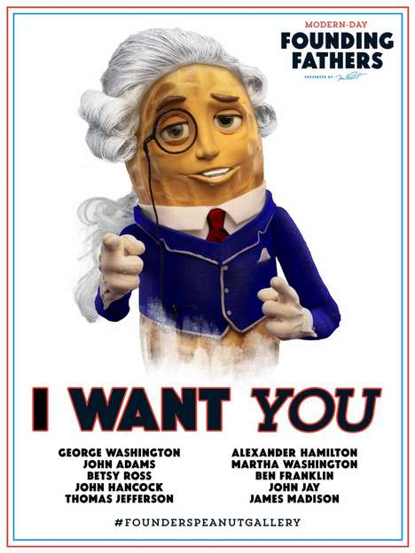 Nutty President Campaigns - Mr. Peanut's Independence Day Campaign Wants You as a Founding Father