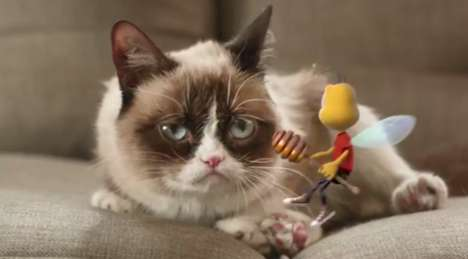 Cat Meme Cereal Ads - This Honey Nut Cheerios Ad Features Buzz Meeting Grumpy Cat