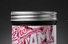 Rocker Jam Jars - The Labels for Jam Sessions Were Created by Printing with Real Preserves