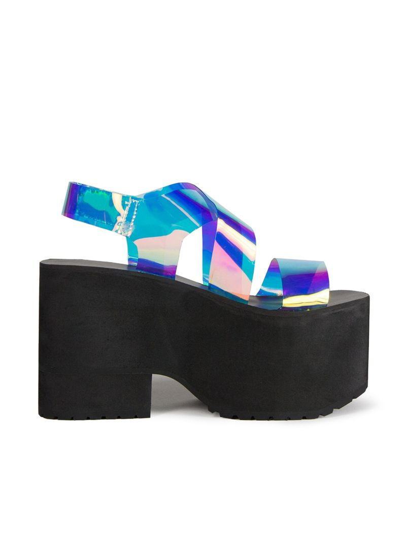 cebd7d805d3a Pixie Market s Holographic Platform Shoes Embrace Galactic Glamor. View  Article. 8. Sheer Space-Age Heels