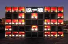 Shipping Container Scoreboards - Audi's World Cup Car Scoreboard is Lit Up by Headlights