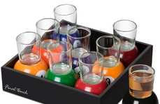Colorful Pool Shooters - The Base of These Multicolored Shot Glasses are Shaped Like Billiard Balls