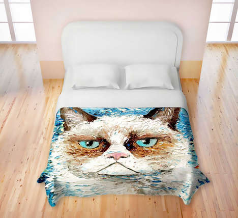 Famous Feline Duvets - Grumpy Cat Products Now Extend to This Delightful Duvet Cover From Etsy