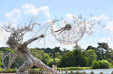 Whimsical Wire Installations - Robin Wight Creates Gigantic Fairy Sculptures Out of Mesh Wire