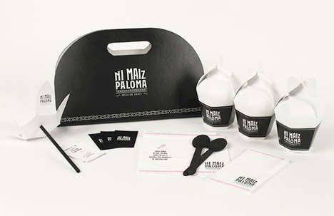 Taco-Shaped Takeout Bags - Ni Maiz Paloma's Mexican Food Packaging Celebrates Traditional Eats