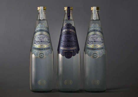 Artisan Water Branding - New Zealand Artesian Luxury Water Bottles Are Stamped with Opulence
