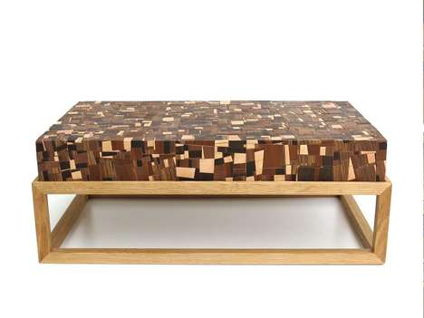 Mosaic Wooden Tables - This Coffee Table Design Incorporates Thousands of Scrap Wood Pieces
