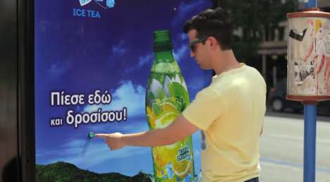 Refreshing Drink Ads - Lipton's Interactive Bus Stop Ad Helps People Cool Off in the Summer