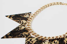 Geometric Jungle Accessories - The Geo-Tiger Statement Necklace from HOTTT.COM is Elegantly Edgy