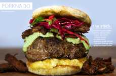 Stacked Meat Burgers - The Porknado Sandwich Comes with a Pork Sausage and a Beef Patty