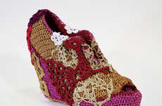 Flowered Crochet Footwear - Olek Creates Summer Shoes with Complex Patterns