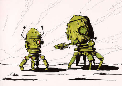 Detailed Droid Doodles - Rob Turpin's Robot Illustrations are Unique and Artistic