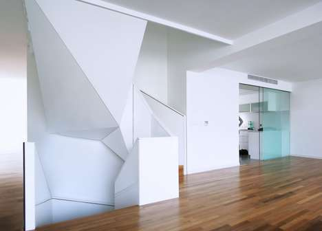Geometric Staircases - Edit Architects Creates a Modern Minimalist Structure for a Sleek Home