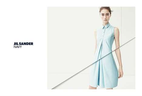 Visibly Spliced Style Campaigns - The Jil Sander Navy Spring/Summer 2014 Ads Include Multiple Lines