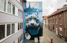 Giant Underwater Dog Murals - Street Artist Smates Spray Painted a Puppy Enjoying a Nice Swim