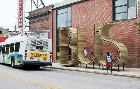 Typographic Bus Stops - Art Group 'mmmm…' Have Designed a Meta Space to Wait for the Bus