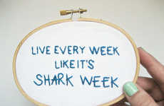 Inspirational Shark Week Emblems - Etsy's Stitch Culture Shop Creates Hand-Embroidered Art Pieces