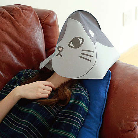 Cat Nap Disguises - The Nekokaburi Mask is a Privacy Hood for Afternoon Naps