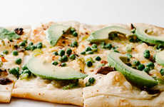 Avocado-Garnished Pizzas - I am a Food Blog's Pea and Avocado Pizza is a Twist on an Old Favorite