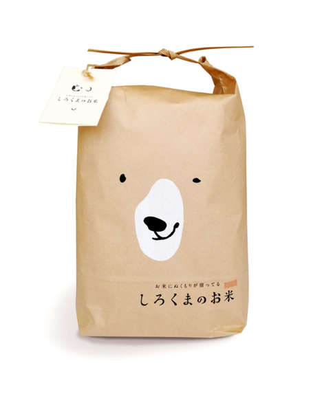 Friendly Grain Packaging - Shirokuma's Rice Packaging Features Cheery Polar Bears