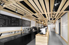 Slatted Wooden Bakeries - This Montreal Bakery Features a Latticed Design