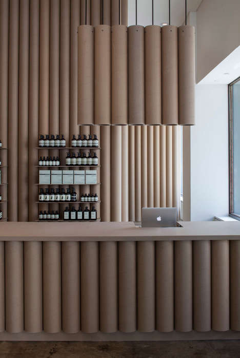 Cardboard-Tubed Retail Stores - Brooks + Scarpa Design the Interior of Aesop Shop