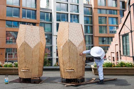 Wooden Rooftop Beehives