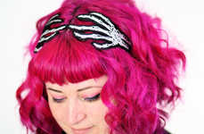 Glowing Skeletal Headbands - This Skeleton Hand Hair Accessory is Perfect for Halloween