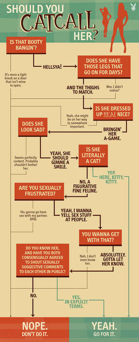 Decisive Lewd Commentary Guides - Playboy's Should You Catcall Her Flowchart Promotes Consent
