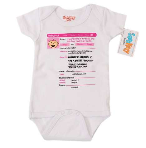 Social Newborn Onesies - Sara Kety's Funny Baby Onesie is Set Up Like a Facebook Profile Page