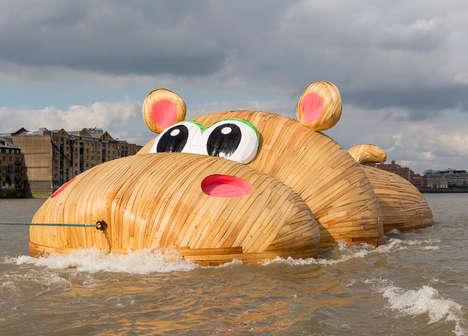 Floating Hippo Artwork