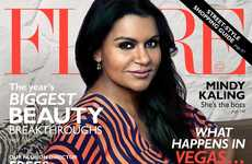 Influential Comedian Covers - Mindy Kaling is Featured on the October 2014 Cover of Flare Magazine