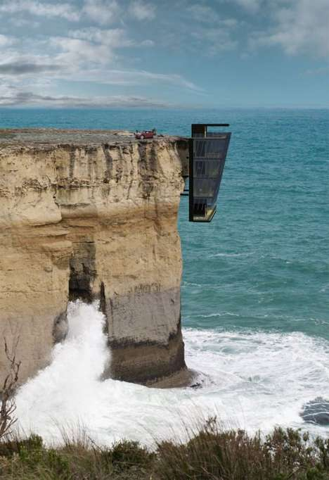 Cliff-Hanging Houses - Modscape Conceptualizes a Contemporary Home that Dangles Off of a Cliff