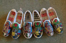 Canvassed Disney Shoes - These Slip-On Sneakers are Painted With Images from Beauty and the Beast