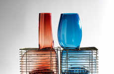 Caged Glass Installations - This Glass-Blowing Project Comprises Liquid Glass Blown into Bird Cages