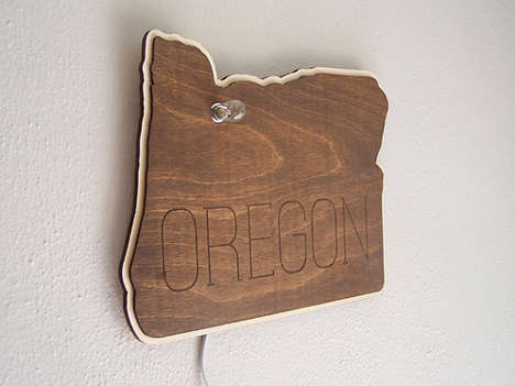 Wooden State Signs - These Rustic Wooden Lit Plaques are Shaped Like Various American States