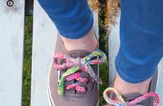 Colorful Crochet Laces - These Handmade Knitted Shoe Lace Designs Add Color to Any Pair of Sneakers