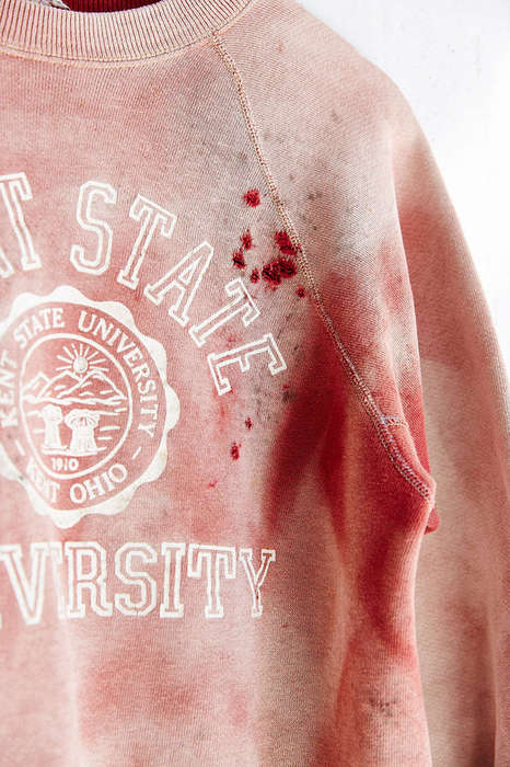 Bloody Collegiate Sweaters - This Kent University Crewneck Commemorates the Vietnam War Protests