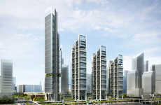 Sloped Roof Skyscrapers - Rogers Stirk Harbour + Partners Design a Complex in Abu Dhabi