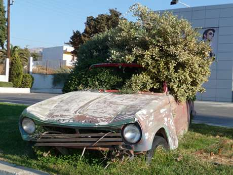 Wrecked Cars as Street Art - Grecian Guerrilla Beautification